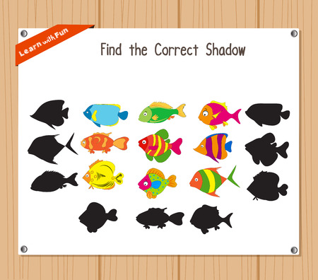 game fish: Find the correct shadow, education game for children - Fish Illustration