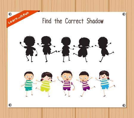 Trova l'ombra corretta, gioco istruzione per i bambini - bambini divertenti