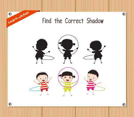 hula hoop: Find the correct shadow, education game for children - Kids hula Hoop
