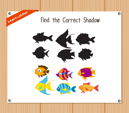 find: Find the correct shadow, education game for children - Fish Illustration