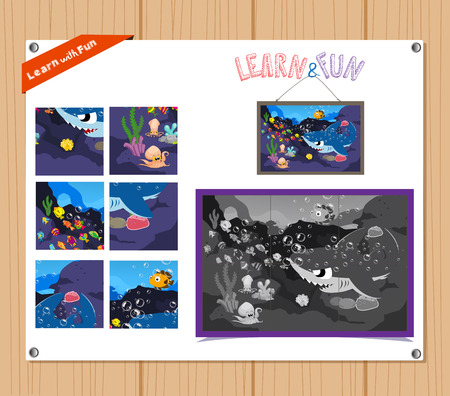 preliminary: Cartoon Illustration of Education Jigsaw Puzzle Game for Preschool Children with Underwater animals
