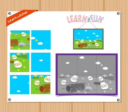 preliminary: Cartoon Illustration of Education Jigsaw Puzzle Game for Preschool Children with Farm Animals