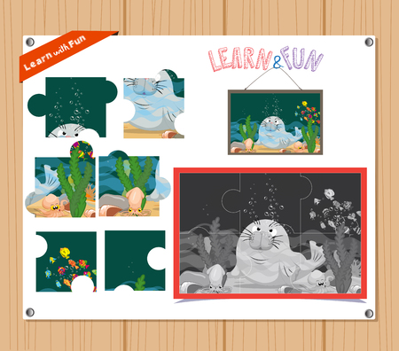 preliminary: Cartoon Illustration of Education Jigsaw Puzzle Game for Preschool Children with underwater world