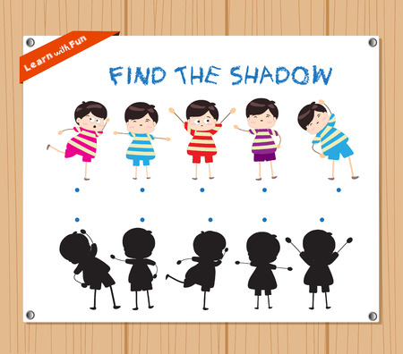 task: Find the Shadow Educational Activity Task for Preschool Children with funny kids