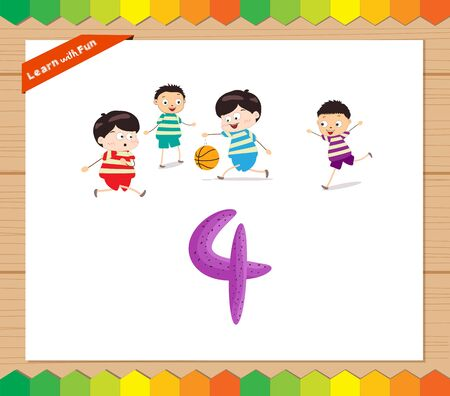 countable: Kids playing with the number 4