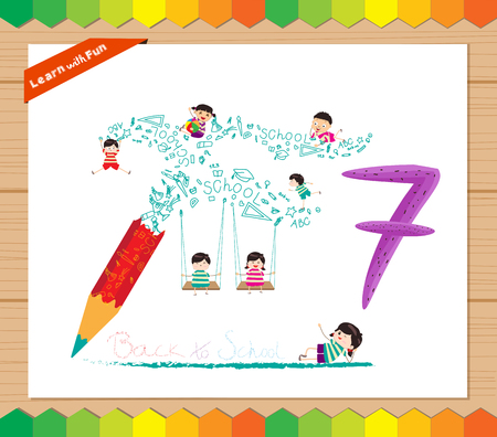 countable: Kids playing with the number 7 Illustration