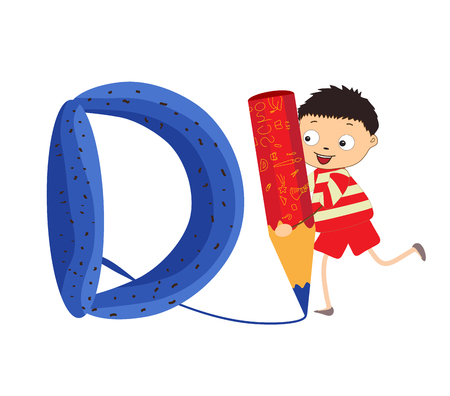 kiddie: Illustration of a Kid Leaning on a Letter D