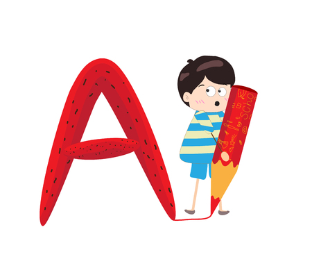 Illustration of a Kid Leaning on a Letter A