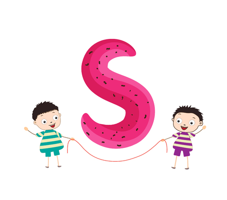 kiddie: Illustration of a Kid Leaning on a Letter S