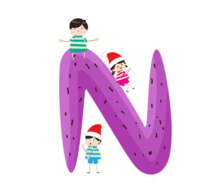kiddie: Illustration of a Kid Leaning on a Letter N Illustration