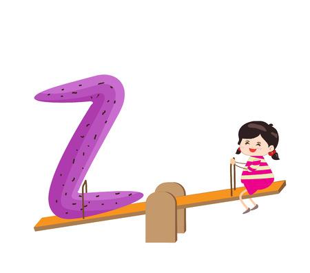 Illustration d'un enfant penchée sur une lettre Z