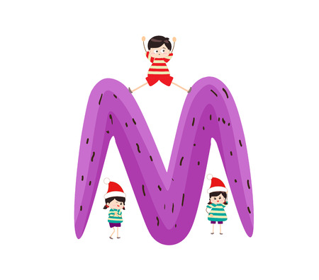 kiddie: Illustration of a Kid Leaning on a Letter M