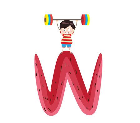 kiddie: Illustration of a Kid Leaning on a Letter W Illustration