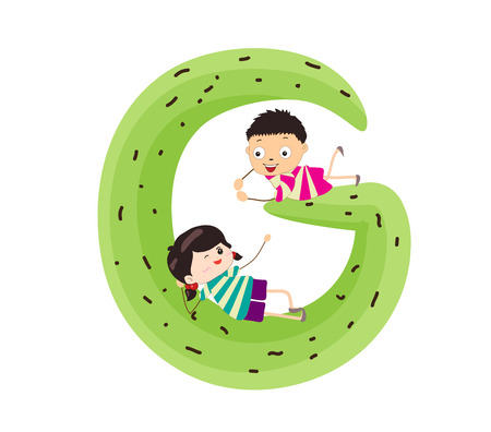 kiddie: Illustration of a Kid Leaning on a Letter G