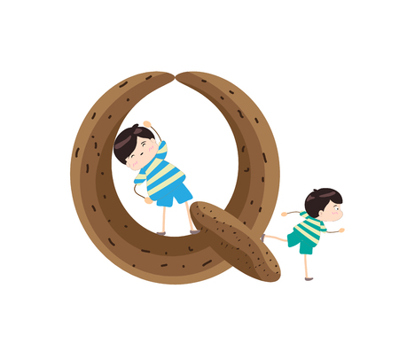 Illustration of a Kid Leaning on a Letter Q