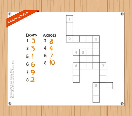 keywords adult: Crossword, education game for children about number