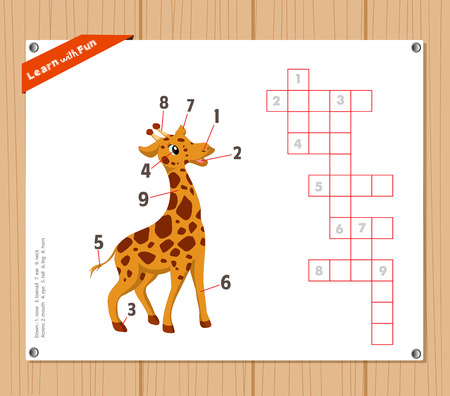 Crossword, education game for children about  parts of giraffe