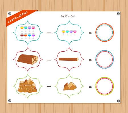 Subtraction number - Worksheet for education Illustration