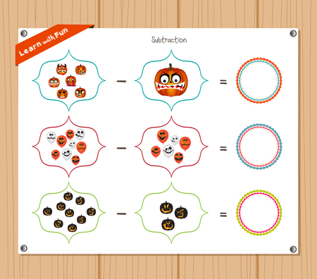 subtraction: Subtraction number - Worksheet for education Illustration