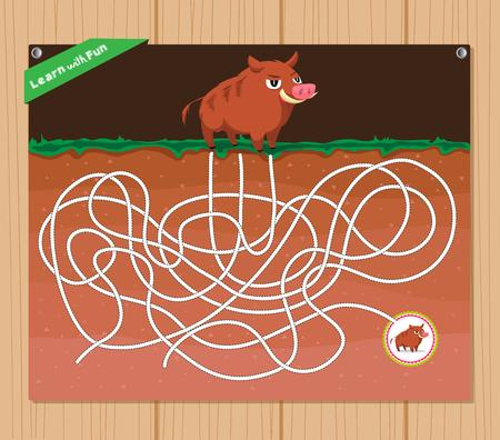 educative: Funny maze game - beautiful educative for kid Illustration
