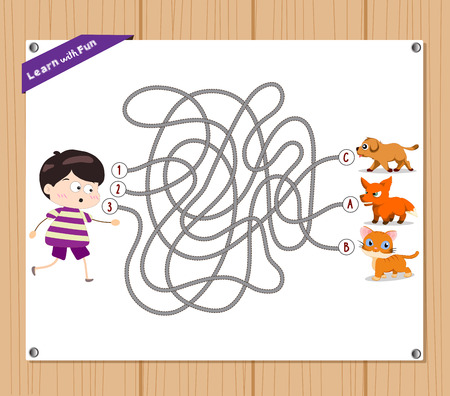 fox terrier: Maze Game. funny kid try to find animals Illustration