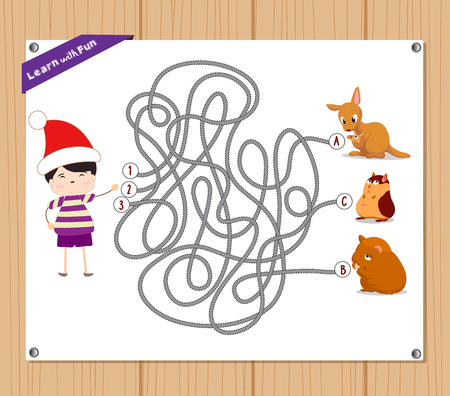 difficult situation: Maze Game. funny kid try to find animals Illustration
