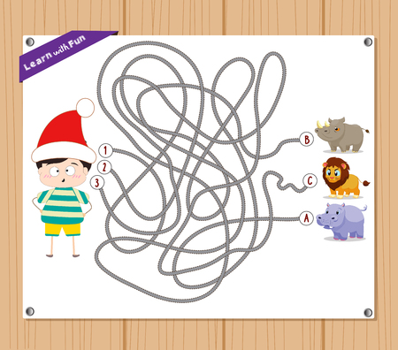 choose a path: Maze Game. funny kid try to find animals Illustration