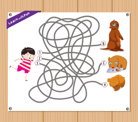 Maze Game. funny kid try to find animals Illustration