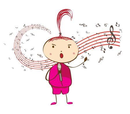 pop star: Illustration of little girl pop star holding a wireless microphone. Illustration