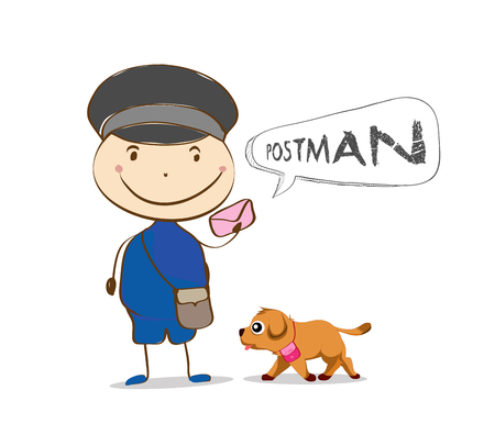 postman: Cheerful postman. Friendly postman in blue uniform with bag and cute dog