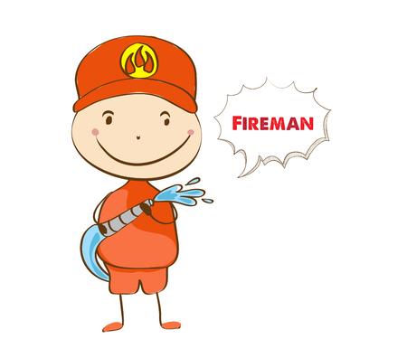 water hose: Fireman. A fireman spraying a water hose Illustration