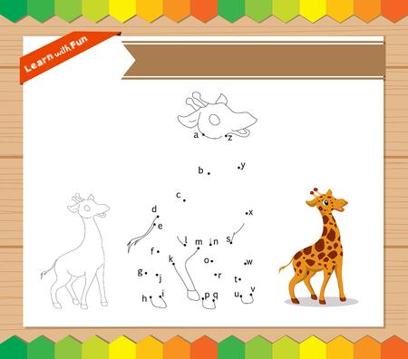 learner: Cartoon Giraffe. Dot to dot educational game for kids. worksheet for letter alphabet