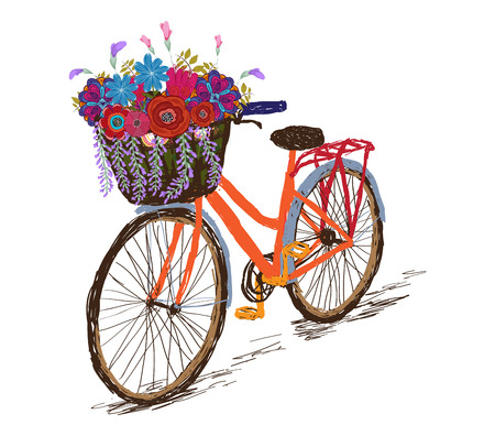 Bicycle with a basket full of flowers Illustration
