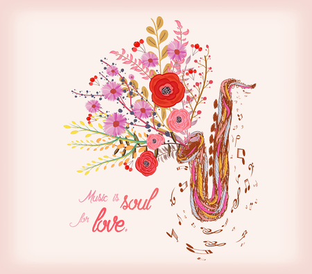 soul music: Music is soul for love. Saxophone and watercolor flower