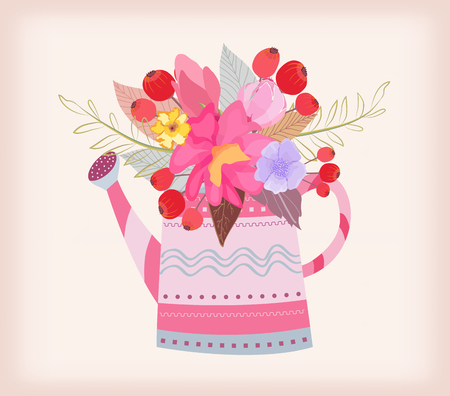daisys: watering can with a bouquet of watercolor flowers Illustration
