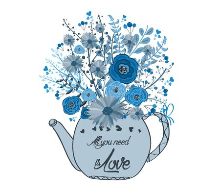 luncheon: Beautiful card with watercolor flowers. Cup of tea with love Illustration