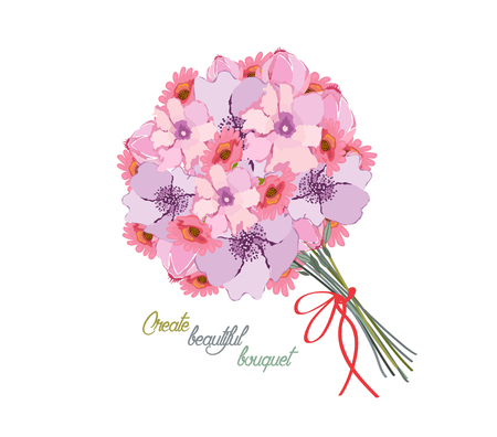 rose bouquet: Romantic background with bouquet of peonies. All elements are separate Illustration