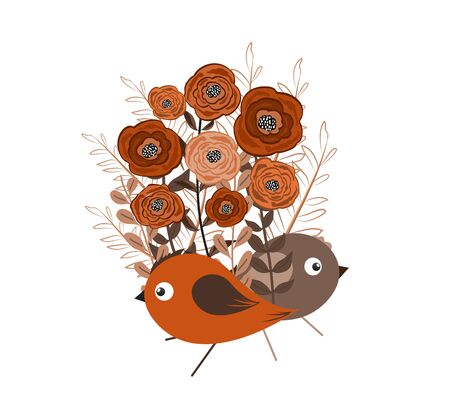 soulful: illustration of a little bird and blooming flowers