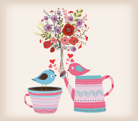 soulful: Beautiful card with watercolor flowers. bottle with birds in love