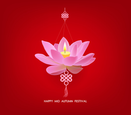 mid autumn: Chinese mid autumn festival background. Lotus lantern