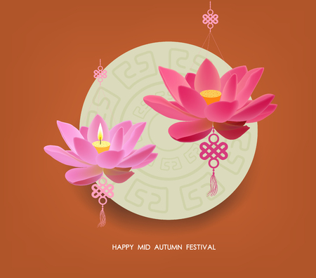 tanglung festival: Mid Autumn Festival with lotus lanterns background