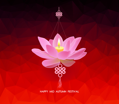 chinese tradition: Chinese mid autumn festival geometrical background. Lotus lantern