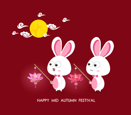 Moon and Rabbits holding lotus lanterns of Mid Autumn Festival