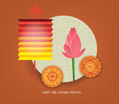 Mid Autumn Lantern Festival  background with moon cake, tea and lotus. Happy Mid Autumn Festival Illustration