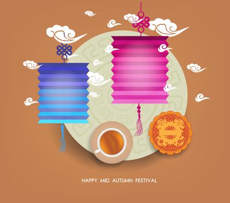 Chinese lantern festival. Mid autumn full moon, cake and tea