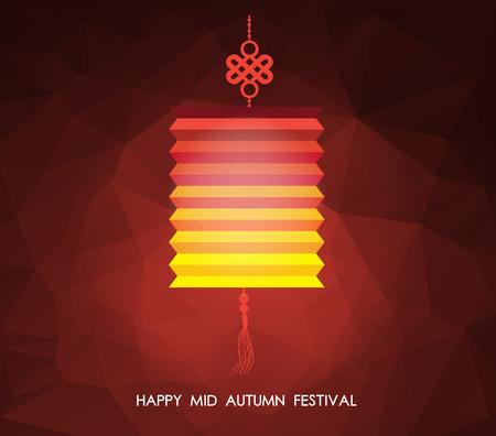 mid autumn: Chinese mid autumn festival polygonal background. Lotus lantern Illustration