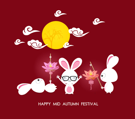 festival people: Mid autumn festival rabbit playing with lotus lanterns with chinese