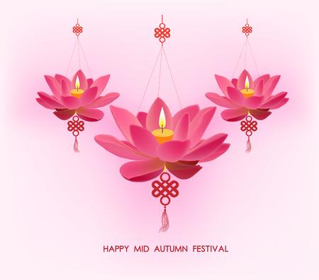 mid autumn: Chinese mid autumn festival background. Lotus lanterns Illustration