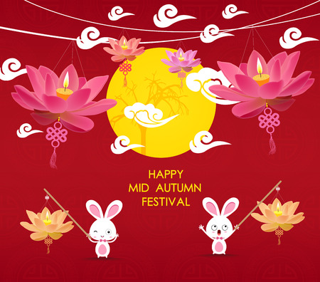 happy Mid Autumn Festival background with rabbit and lotus lanterns
