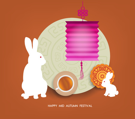 tanglung festival: Mid Autumn Lantern Festival  background with moon cake, tea and rabbit. Happy Mid Autumn Festival